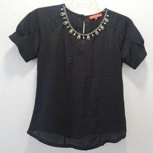 lulumari Bling Neckline Black Short Sleeve Top S